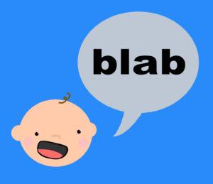 """A cartoon of a baby saying """"blab"""""""