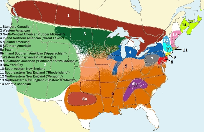 14 regional english dialects in Canada and the U.S.A. are shown on a map.