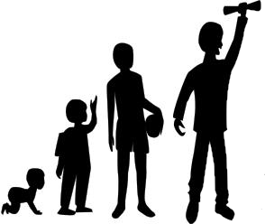 Sillhouettes of a baby, child, teen, and college graduate.