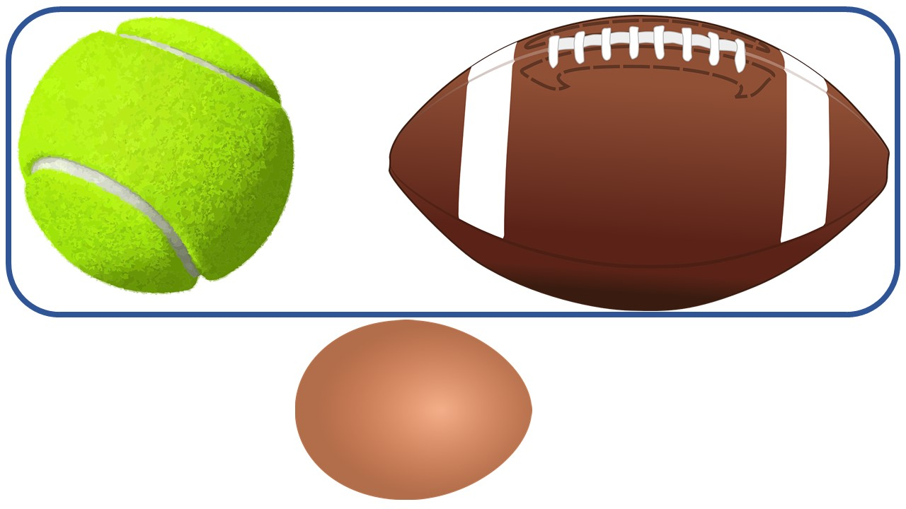 A tennis ball and football are in a circle, and an egg is outside the circle.